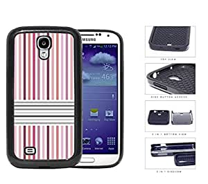 Pink And Gray Parallel Lines 2-Piece Dual Layer High Impact Rubber Silicone Cell Phone Case Samsung Galaxy S4 SIV I9500