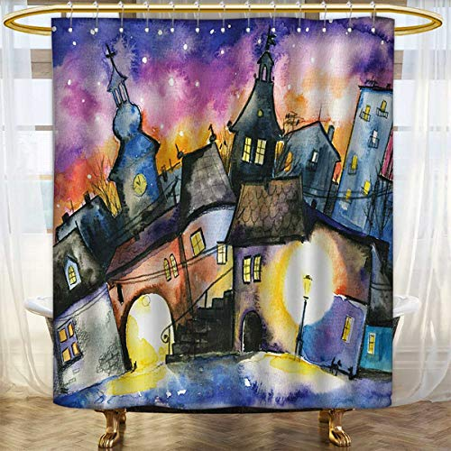 lacencn Abstract,Shower Curtains Mildew Resistant,Funky Watercolors Paint Small Town Weird Angles at Night Sky Reflections Mist Image,Bathroom Set with Hooks,Multi,Size:W60 x L72 inch (Sky Angle Neo Night)