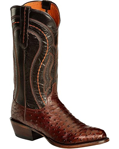 1883 Full Quill - Lucchese Men's Handmade 1883 Full Quill Ostrich Montana Cowboy Boot Medium Toe Sienna 8 EE US