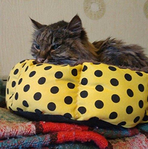 Cdet Cama para mascotas redonda o de forma oval dimple fleece nesting perro cueva para gatos y perros pequeños lavable cama de peluche,Azul: Amazon.es: ...