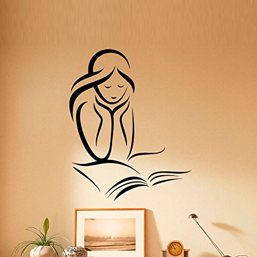 marvellous book reading Library wall sticker ll wall decal 60x49cm