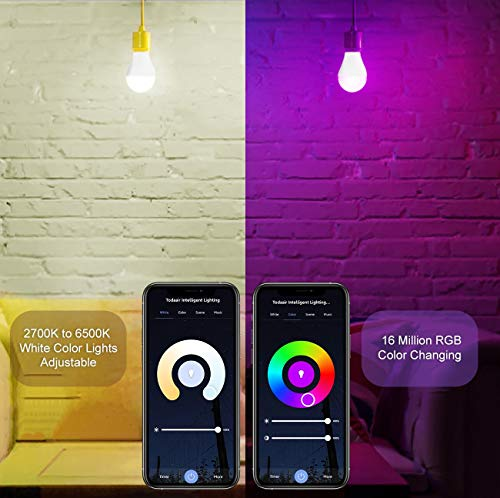 TODAAIR Alexa Smart Bulb 1 Pack, Bluetooth & WiFi RGB+White Color Changing Dimmable 60W Equivalent E27 LED Light Bulb A19, Alexa Devices for Home Works with Alexa and Google Home (No Hub Required)