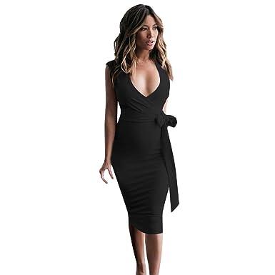 af6070b3e017 MEIbax Women Slim Bow Tie Bandages Sleeveless V Neck Holiday Party Dress   Amazon.co.uk  Clothing