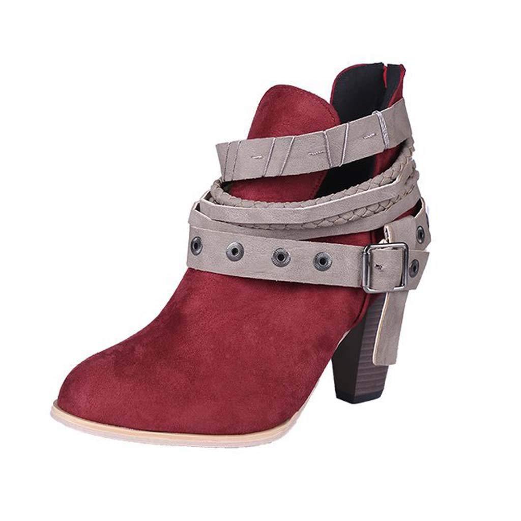 rouge FEFEFEF Bottes pour Femmes de de de Grande Taille épaisses avec des Bottes Martin db6