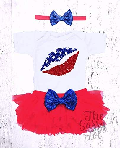 8bac4fdf454e3 Amazon.com: Baby Girls 4th of July Outfit, Lips, Kiss Fourth of July ...