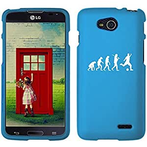 LG Optimus L90 D405 D410 D415 Snap On 2 Piece Rubber Hard Case Cover Evolution Soccer (Light Blue)