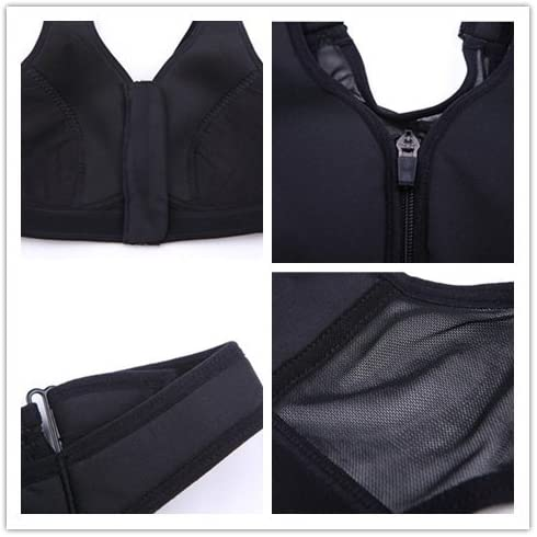 SHOLIND Women Sports Bra with Front Zipper Closure Wireless Back Mesh Fitness Running Bra Vest