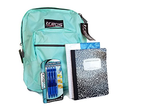 Jansport Trans Aqua Laptop Backpack with School Supplies Set (Notebook Paper Refill, Composition Book and 4 Pens)