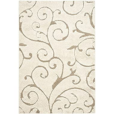Safavieh Florida Shag Collection SG455-1113 Scrolling Vine Cream and Beige Area Rug (4' x 6')