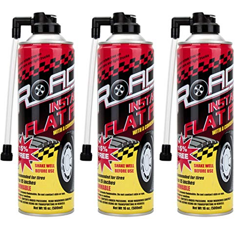 Road Instant Fix a Flat Tire Easy Hose Tire Inflator Air Filler Sealant 16oz (3 Pack)