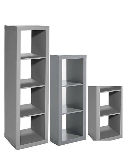 Better Homes And Gardens 3 Piece Cube Organizer Storage Bookshelf In Gray Bundle Set