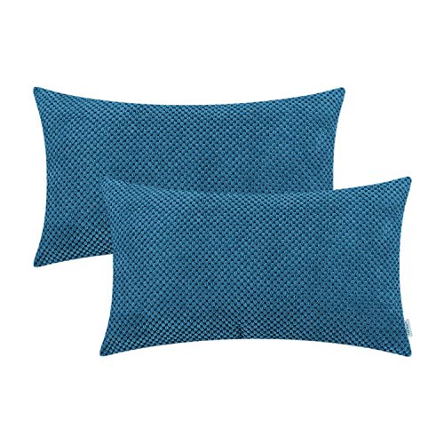 CaliTime Pack of 2 Comfy Bolster Pillow Covers Cases for Couch Sofa Bed Comfortable Soft Solid Corduroy Pineapple Trellis Both Sides 12 X 20 Inches Deep Sea Blue
