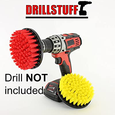 2 Piece quick change, Medium & Stiff drillbrush-Power Scrubbing Brush Drill Attachment for Cleaning Showers, Tubs, Bathrooms, Tile, Grout, Carpet, Tires, Boats by Drillstuff
