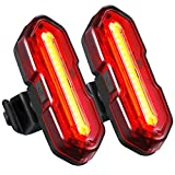 USB Rechargeable LED Bike Light Set,TOPELEK Ultra-Bright 2 LED Bike Tail Lights,5 Light Modes and 2 USB Cables,Water Resistant,Red/White LED Bike Rear Light,Fits on Any Bicycles(2 Packs)