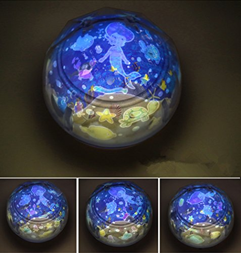 Mermaid Light (ZiMing L Color Cosmic Projection Star Lamp Projection Rotation Night Lights,Mermaids)