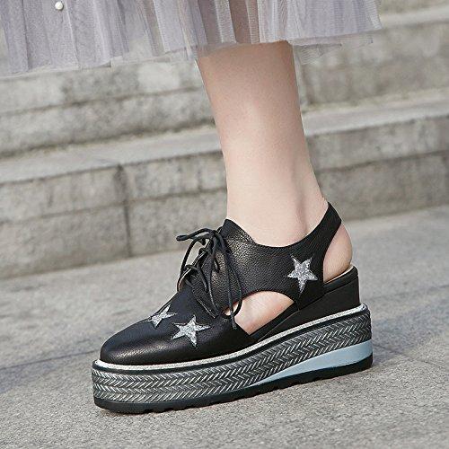una scarpe scarpe black di KPHY Thirty casual suola spessa trentaquattro star con sandali zeppe muffin alla five scarpe hollow i le moda IwwqZ5