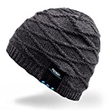 Electronics Teens Best Deals - Mydeal Winter Washable Bluetooth Music Beanie Warm Soft Knitted Trendy Short Skully Hat Cap w/ Wireless Headphone Headset Earphone Mic Hands Free for Excrise Gym Sports Fitness Running Skiing - Black
