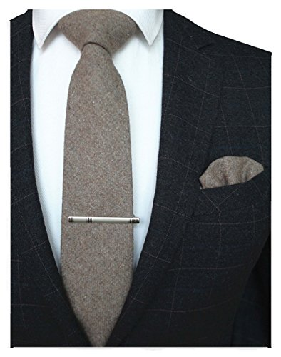 JEMYGINS Rosy Brown Cashmere Wool Necktie and Pocket Square Tie Clip Sets for Men (10)