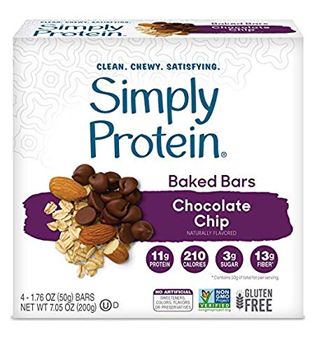 SimplyProtein Baked Bar Singles. Clean, Dairy Free and Gluten Free Baked Bars with Plant Based Protein. (32 Pack, Chocolate Chip) by SimplyProtein