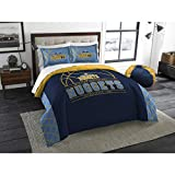 3 Piece NBA Nuggets Comforter Full Queen Set, Basketball Themed Bedding Sports Patterned, Team Logo Fan Merchandise Athletic Team Spirit Fan, Navy Blue Multi, Polyester
