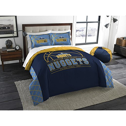 3 Piece NBA Nuggets Comforter Full Queen Set, Basketball Themed Bedding Sports Patterned, Team Logo Fan Merchandise Athletic Team Spirit Fan, Navy Blue Multi, Polyester by B62830000 570B6783000001 EN