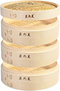 Hcooker 3 Tier Kitchen Bamboo Steamer Basket for Asian Cooking Buns Dumplings Vegetables Fish Rice