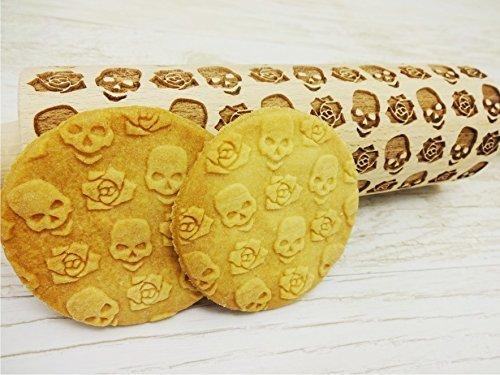 SKULLS and Roses Embossing Rolling pin. Pattern with skulls and roses. Laser engraved rolling pin. Death's-head pattern rolling pin. Flower dough roller