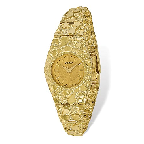 Mia Diamonds 10k Solid Yellow Gold Champagne 22mm Dial Nugget Watch