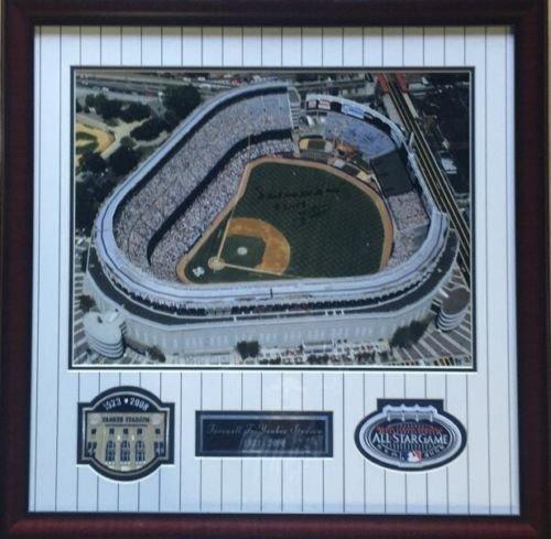 Yogi Berra Signed Yankee Stadium 16X20 Ins It Aint Over Last Game Framed Patch CBM COA