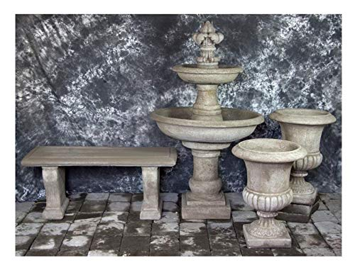 Fleur de Lis Garden Ornaments LLC Ravello Two Tier Fountain with FDL Finial and Italian Palazzo Urns with Bench Package Number 1024 ()