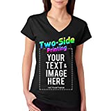 Custom Printed V Neck T-Shirt For Women Personalized Design Your Own (XXL, black)