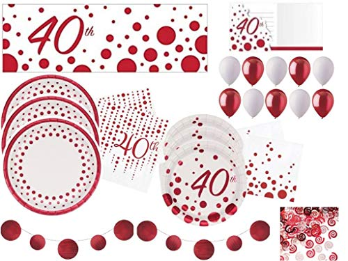Sparkle & Shine Ruby 40th Anniversary Deluxe Tableware and Decorations Party Supplies Kit Including Plates, Napkins, Banners, Balloons, Confetti and Invitations for 24 Guests (149 Pieces) ()