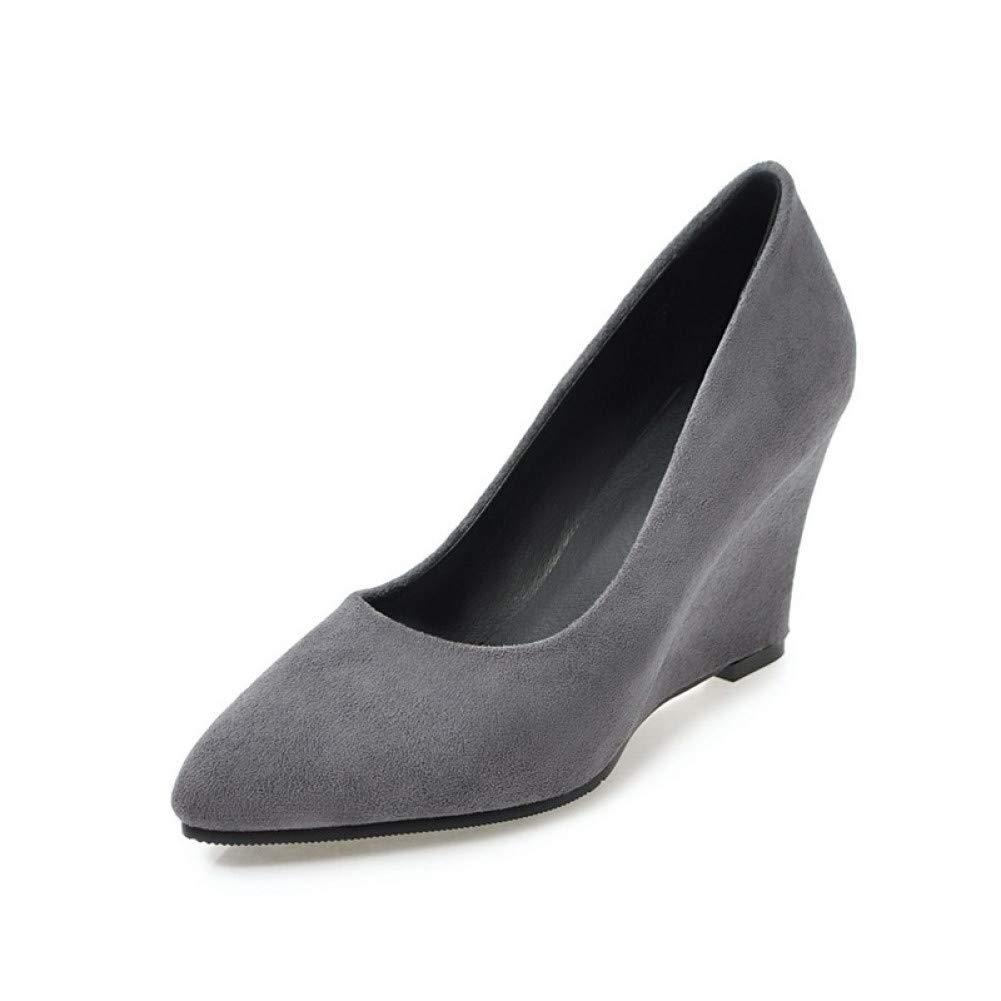 Ai Ya-liangxie Frauen Obermaterial Veloursleder High Heel Keilabsatz Schuhe Frau Sexy Spitze Zehe Weniger Plattform Pumpen Big Größe 33-43