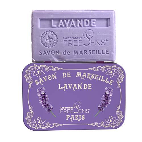 (Freesens - Savon de Marseille Bar Soap, Lavender, Metal Box, Made in France, 100gr)