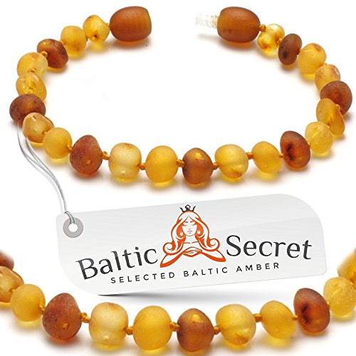Amber Teething Bracelet for Baby Girl or Boy, Certified Raw Baltic Amber Teething Beads, Amber Teething Anklet for Babies Kids, Natural Baby Teething Relief by Baltic Secret / 2LH.U-BRQ/13.5/5.3IN