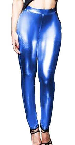c8a36b5be10ec Hokny TD Womens Sexy Shiny Leggings Wet Look Metallic Waist Legging Pants  Blue XS