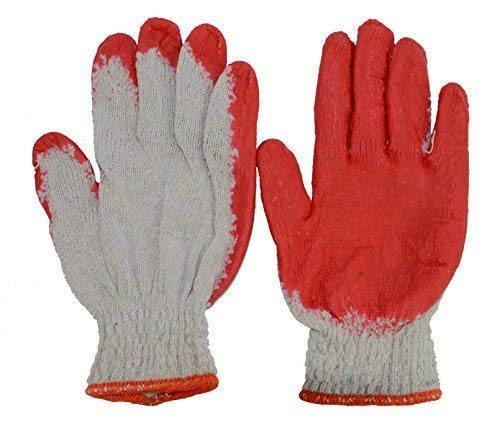 Red Latex Rubber Palm Coated Work Cotton Gloves(100 Pairs), Heavy Duty Construction Working Gloves, Cotton Latex Palm Gloves (Natural Rubber Palm Gloves)