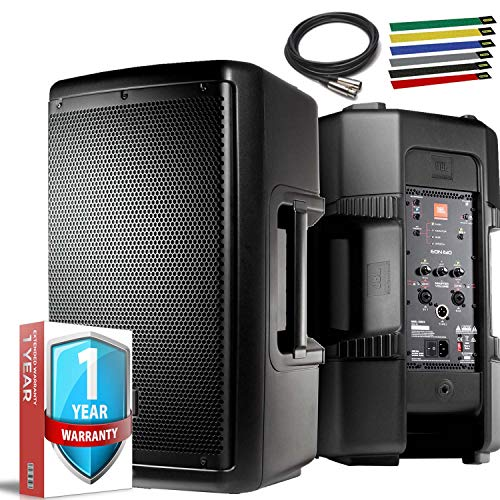 "JBL Professional EON610 Portable 10"" 2-Way Multipurpose Self-Powered Sound Reinforcement Speaker with 10ft XLR, Cable Ties and 1-Year Extended Warranty"