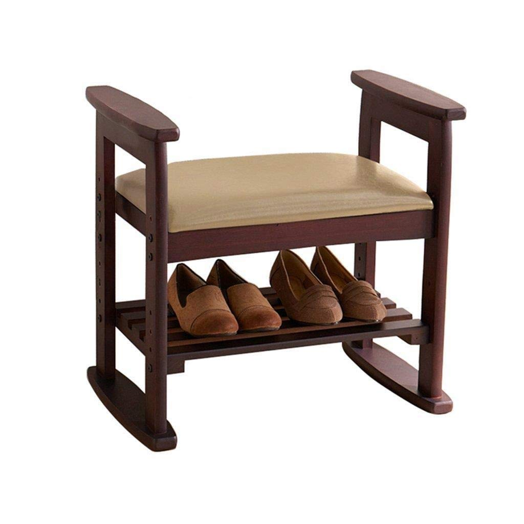 Rectangular Shoe Bench, 2 Layer Replacement Shoe Footstool, Wooden Retro Storage Dustproof Bed End Stool, Corridor Shoe Rack With Hooked Linen Cushion, Save Space, Bearing Capacity150kg 53x33x51cm by CS-JZ