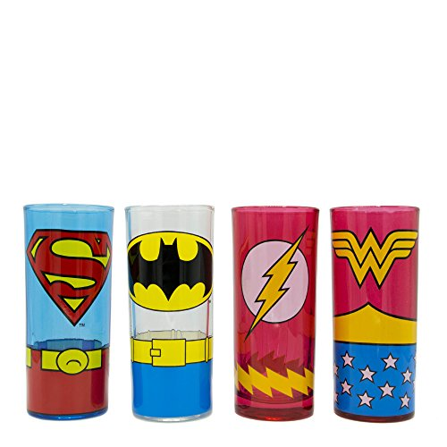 Silver Buffalo DC031T0 DC Comics Superhero Uniforms Glass Tumbler Set, 4-Pack -