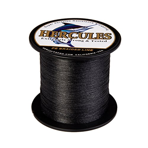 Hercules Braided Fishing Line 300m 328yds 6lbs-100lbs Pe Dyneema Superline 4 Strands (Black 10lb/4.5kg 0.12mm)