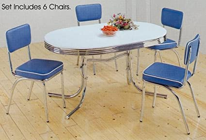 Amazon.com - 7pc White & Chrome Retro Oval Table & Blue ...