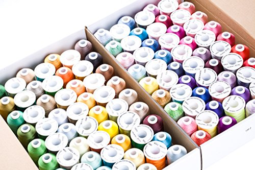CR INDUSTRY 120 Assorted Colors Polyester Embroidery Machine Thread Set (1000 Meters Each)