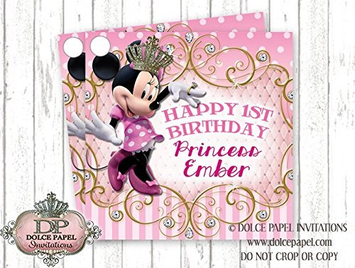 10 Princess MINNIE MOUSE Diamond Bling Crown Pink White and Gold Polka Dot Favor Tags 1st Birthday Party ANY AGE (Tags Dot Polka)