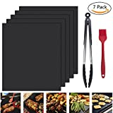 Grill Mat,Nuoe Set of 5 Non-stick BBQ Grill Mat With Stainless Steel Silicone Kitchen Tongs and Silicone Brush, FDA-Approved, PFOA Free-15.75x13 inch