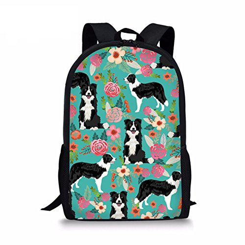 Youngerbaby Casual Backpack Cat & Dog Print School Bag Students Kids Travel Backpacks (Green Border Collie)