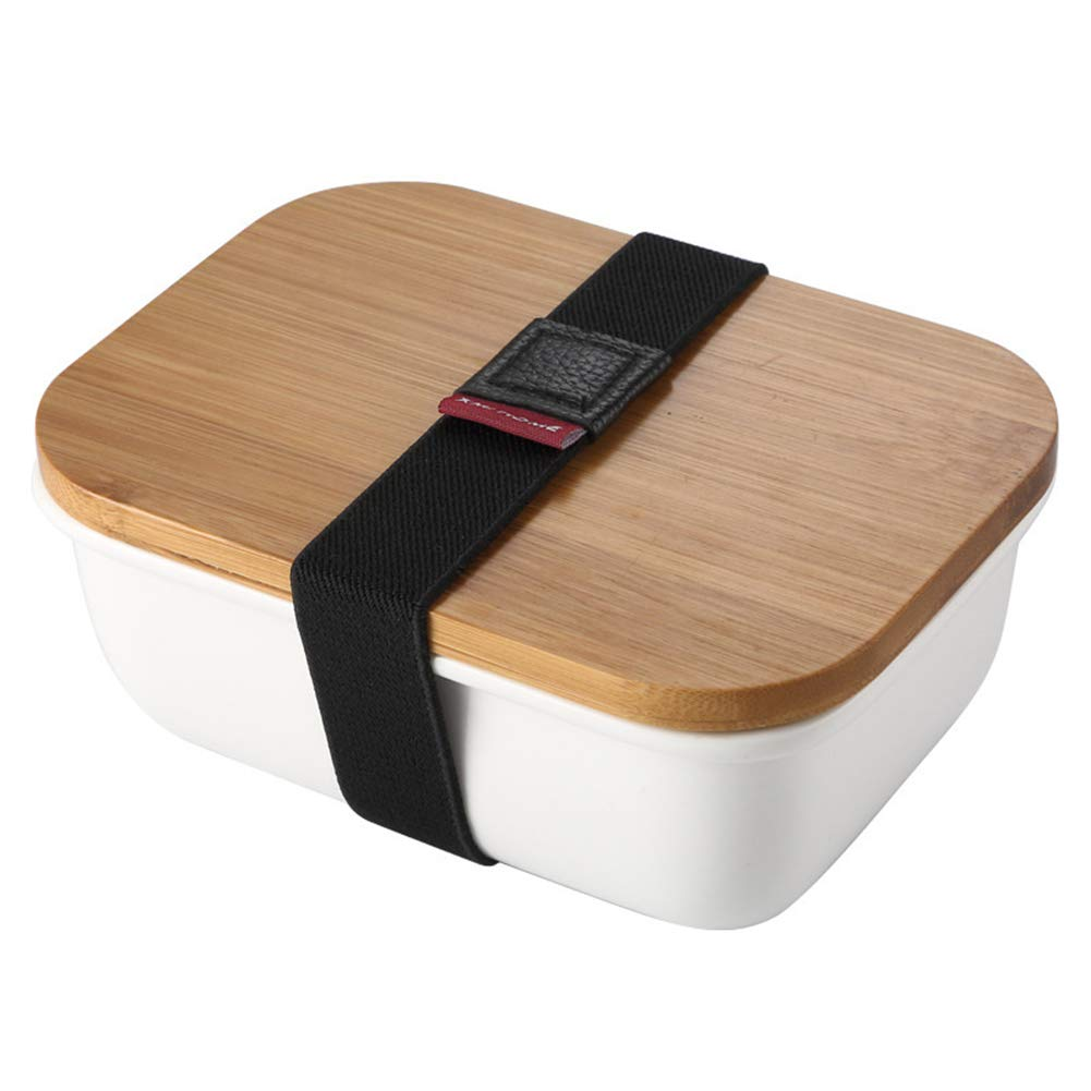 Bamboo and Wooden Picnic Box, Fresh-Keeping Sealed Ceramic Bamboo Lunch Box with Elastic Band for Outdoor Picnic, Travel, Etc by LTLSF