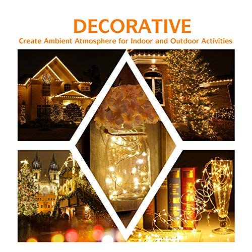 4 Pack 100 LED String Lights Battery Operated Fairy Lights 33ft 2018 Upgraded Waterproof 8 Modes Remote Control Timer Copper Wire Firefly Lights for Patio Bedroom Wedding Christmas Decor Warm White by SHINE HAI (Image #5)