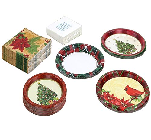 Christmas Paper Plates and Napkins; 24 Dinner Plates, 24 Dessert Plates, 32 Dinner Napkins, 24 Drink Napkins; Various Designs