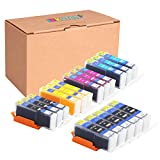 INKUTEN (TM) Compatible Ink Cartridge Replacement for Canon PGI-250XL CLI-251XL High Yield (5 Large Black, 3 Cyan, 3 Magenta, 3 Yellow, 3 Small Black) - 17 Pack